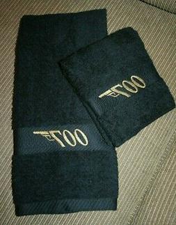 007-Bond Inspired Black 1 Hand Towel & 1 washcloth wgold loo