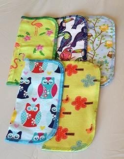 1 Ply Owls & Birds Fun Flannel Washable Kids Lunchbox Napkin