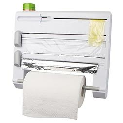 ConsWin 6-in-1 Wall Mount Paper Towel Holder, Plastic Wrap a