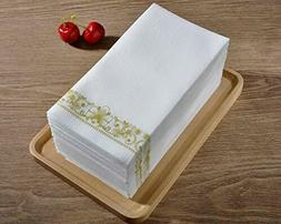 100 pack, 12x16 Inch Gold Napkins & Guest Linen Paper Hand T