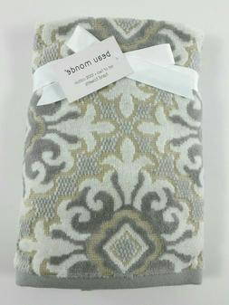 Beau Monde 100% Cotton 2 Pc Hand Towel Set - Damask Print in