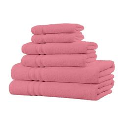 100% Cotton 6-Piece Towel Set - 2 Bath Towels, 2 Hand Towels