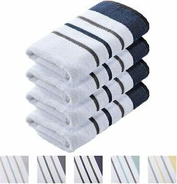 100% Turkish Cotton, Striped Hand Towel Set 16 x 30 inches O