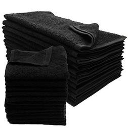 12 New Black Salon Gym Spa Towels Ringspun Hand 16x27 2.9 Lb