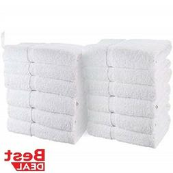 12 Pack White Economy 100% Cotton 15X25 Basic Hand Towels- G