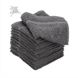 12 pack 16x27 grey pegasus premium salon gym spa towels ring