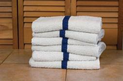 12 pack blue stripe economy hand towels 16x27 3# gym spa hot