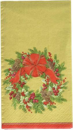 Caspari 13411G Evergreen Wreath Gold Paper Guest Towels, Pac