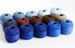 15 Balls Soft 10g Cotton Balls Yarn Rainbow Colors of Size 8