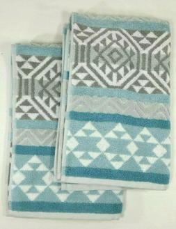 2 Beau Monde 100% Cotton Hand Towels - Gray White Aqua Blue
