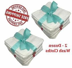 2 Dozen White Hotel Washcloth Hand Gym Towel wash cloths 12x