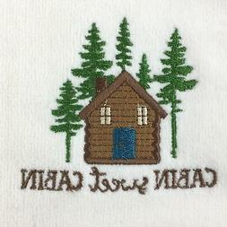 2 Embroidered Guest Hand Towels Lake Woods Lodge Log Cabin S