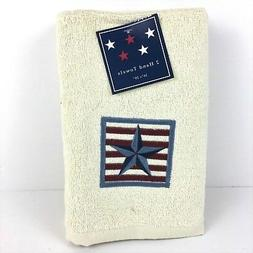 2 Embroidered Guest Hand Towels Patriotic Boxed Star and Str