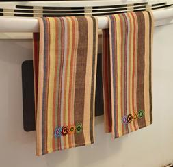 2 Guatemalan Handwoven Brown Stripe Fair Trade Hand Loomed K
