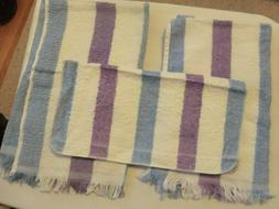 2 Canon Hand Towels, 1 Washcloth White, Blue, Lavender Strip