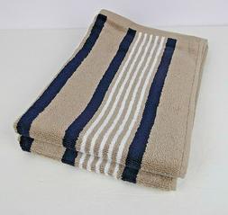 2 Izod Hand Towels Racer Stripe Striped Navy Blue Beige Whit