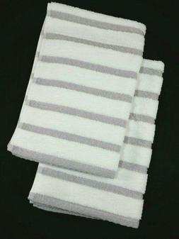 2 DKNY Hand Towels - White with Gray Textured Stripes - 100%