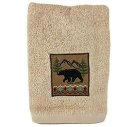 2 lodge guest hand towels embroidered bear
