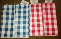 2 New Checkered/Plaid Kitchen dish towels 15x25 Blue~Red han