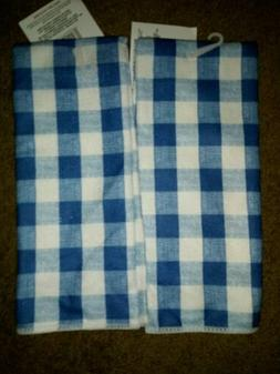 2 New Kitchen Towels Hand Towels Dish Towels Blue Checked Pl