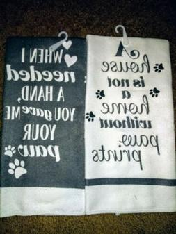 """2 New With Tags Kitchen Dish Hand Towels """"Paw Prints"""""""