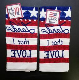2 pack Americana Hand Towels - Kitchen Bathroom Patriotic St