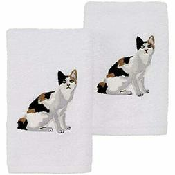 2 Pack Cat Hand Towel, Calico Home &amp Kitchen