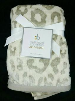 2 Pack Deborah Connolly Hand Towels - Leopard Print - Cream