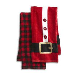 Cannon 2-Pack Hand Towels - Red Buffalo Plaid & Santa Suit