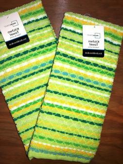 2 pc Kitchen Hand Towel Set Diamond  Green Teal Gold White
