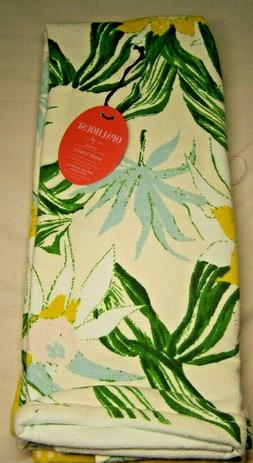 2-pk Floral Hand Towels Yellow / Green - Opalhouse NEW