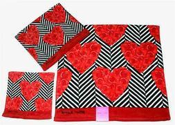2 Betsey Johnson Velour Chevron Stripe Red Roses Black White
