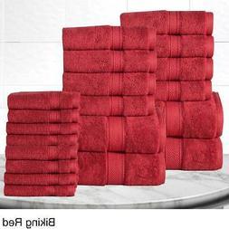 20 Piece Bathroom Towel Set Red Soft Cotton And Bath Hand To