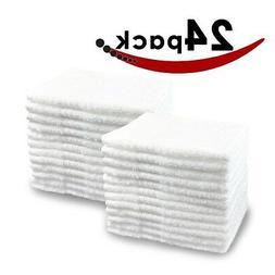 Pacific Linens 24-Pack White 100% Cotton Towel Washcloths, D