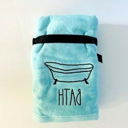 Rae Dunn 2pk BATH Blue Bath Hand Towels Embroidered Bathtub