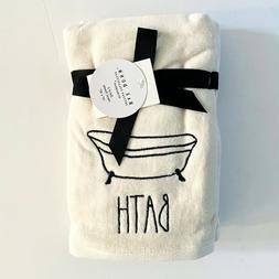 Rae Dunn 2pk BATH Tan Cream Bath Hand Towels Embroidered Bat