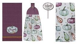 3 Fall Thanksgiving Kitchen Purple Dish Towels Bundle - 1 Te