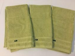 3 hand towels yellow green 100 percent