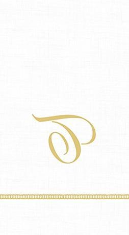 Caspari 3-Ply Paper Hemstitch Script White Monogram, 15 Coun