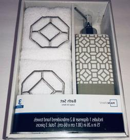 Mainstays 3 Piece Bath Set 1 Dispenser & 2 Hand Towels P2