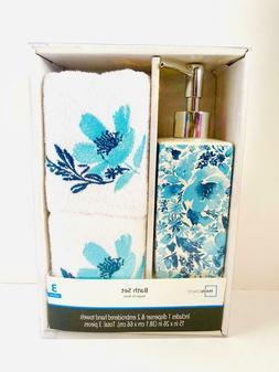 3 Piece Floral Bath Set Hand Towels & Soap Dispenser Blue/Wh
