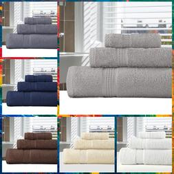 3 Piece Set of Large Bath Hand Face Towels Sheets 100% Organ