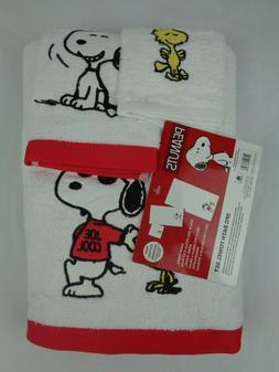 Peanuts 3-Piece Towel Set White Red Snoopy Woodstock Joe Coo