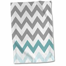 3D Rose Grey Chevron with Mint Turquoise Zig Zag Accent Gray