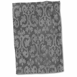 15 x 22 3D Rose Fancy White Gown with Black /& Silver Gray Animal Print Stripes Hand Towel Multicolor