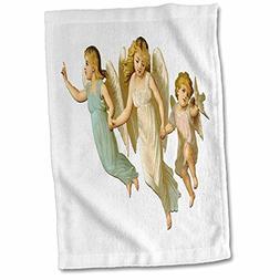 3D Rose 3 Precious Vintage Children Angels Hand/Sports Towel