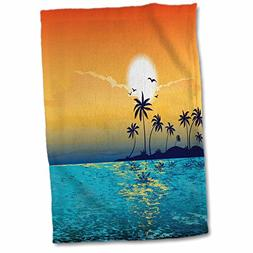 3D Rose a Tranquil Island Scene Against a Sunset with Palm T