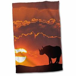 3D Rose Africa-Kenya Composite of White Rhino Silhouette at