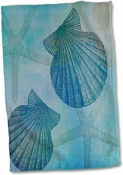 3D Rose Aqua Shells and Starfish Beach Themed Art Hand/Sport