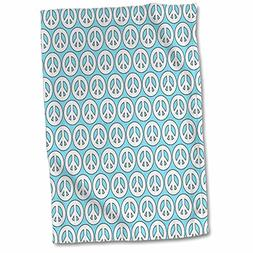 """3D Rose Aqua and White Girly Peace Signs Towel, 15"""" x 22"""", M"""